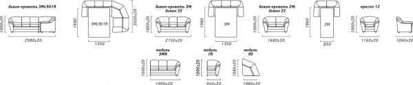 Угловой диван «Сенатор Royal» (3мL/R901R/L) Пинскдрев