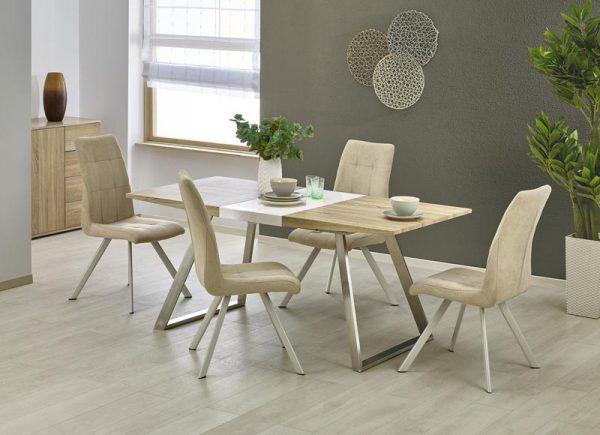 Стол обеденный HALMAR TREVOR раскладной, белый\дуб сонома, 130-170/80/76