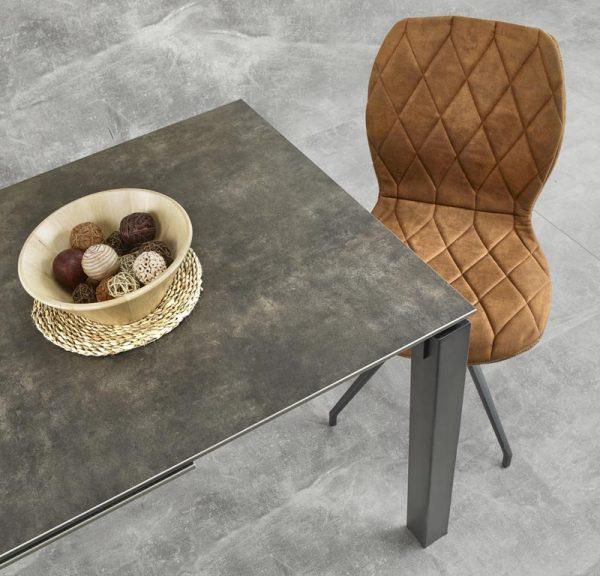 Стол обеденный HALMAR HORIZON раскладной, серо-черный, 120-180/85/76