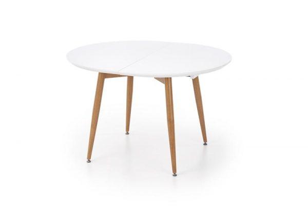Стол обеденный HALMAR EDWARD раскладной, белый\дуб медовый, 120-200/100/75