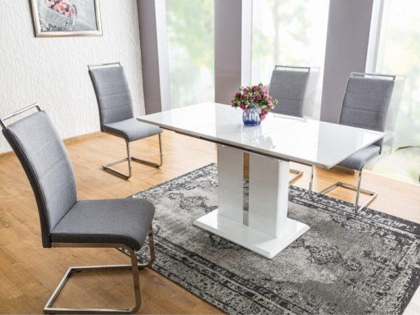 Стол обеденный SIGNAL DALLAS 110 раскладной, белый лак 110-150/75/76 NEW