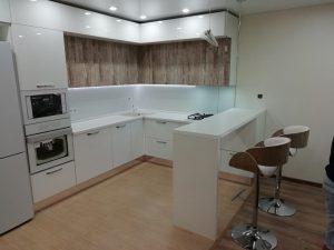 ЕВРОDOM - Кухня  Акрил + ALVIC с барной стойкой