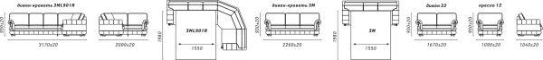 Угловой диван «Цезарь» (3мL/R901R/L)