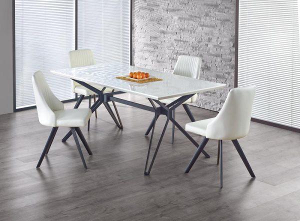Стол обеденный HALMAR PASCAL бело\черный, 160/90/76