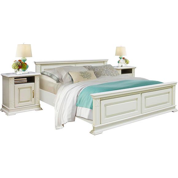 Кровать двойная «Верди Люкс» с высоким изножьем Пинскдрев