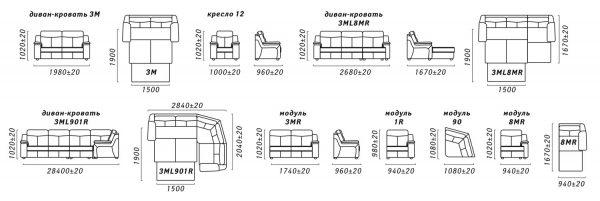 Угловой диван «Люксор» (3мL/R901R/L) Пинскдрев