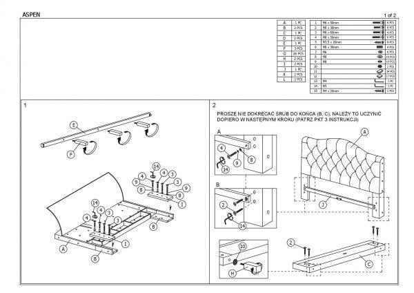 Кровать SIGNAL ASPEN серая 160/200