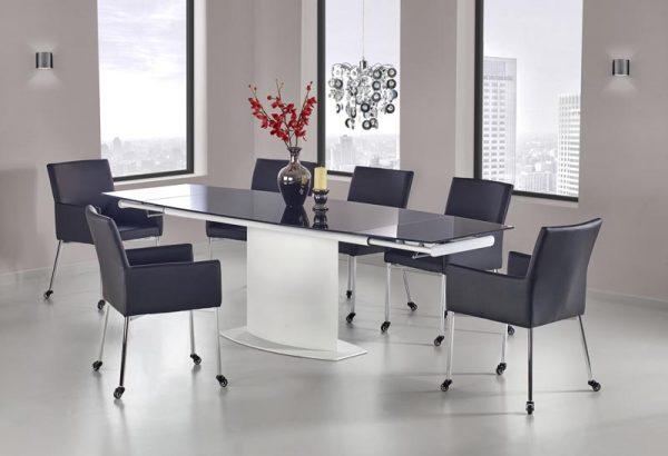 Стол обеденный HALMAR ANDERSON раскладной, бело\черный, 160-250/90/76