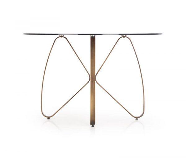 Стол обеденный HALMAR LUNGO коричневый/античное золото, 120/76 NEW