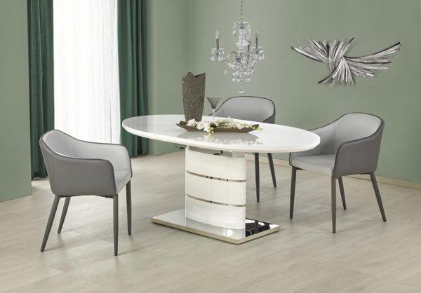 Стол обеденный HALMAR ASPEN раскладной, белый, 140-180/90/76