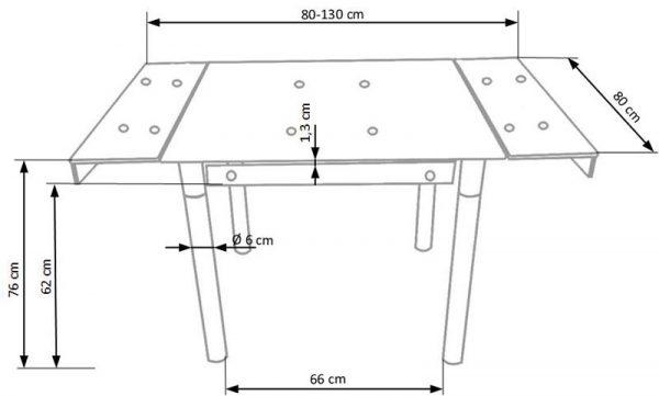 Стол обеденный HALMAR KENT раскладной, красный\хром, 80-130/80/76