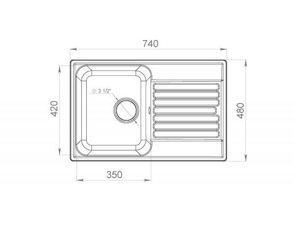 LEX Geneva 740 White Кварцевая кухонная мойка