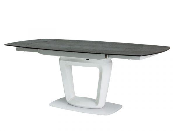 Стол обеденный SIGNAL CLAUDIO CERAMIC 140 раскладной, серый/белый лак 140-200/100/76 NEW