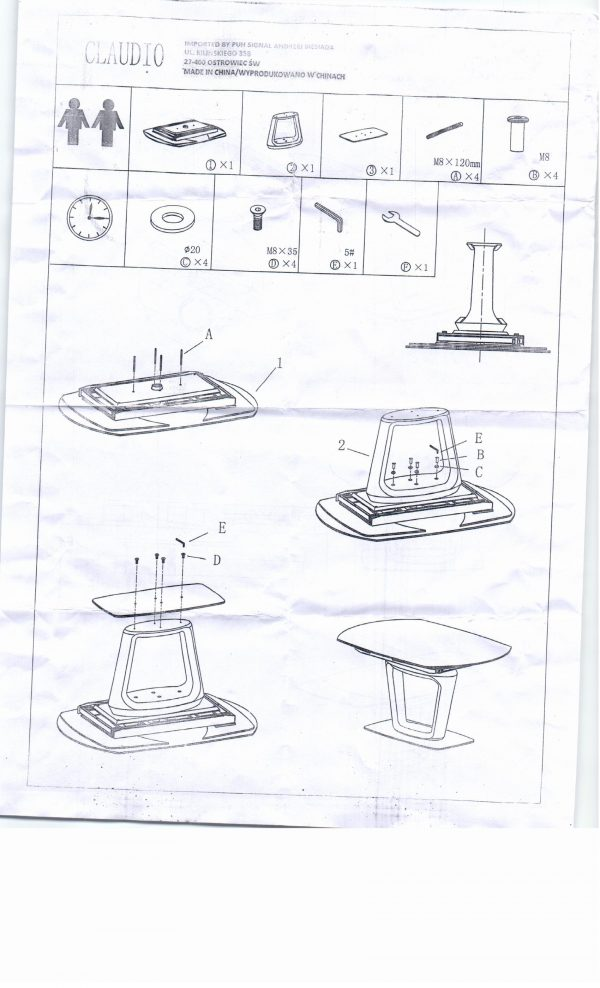 Стол обеденный SIGNAL CLAUDIO раскладной, белый лак 140-200/100/76