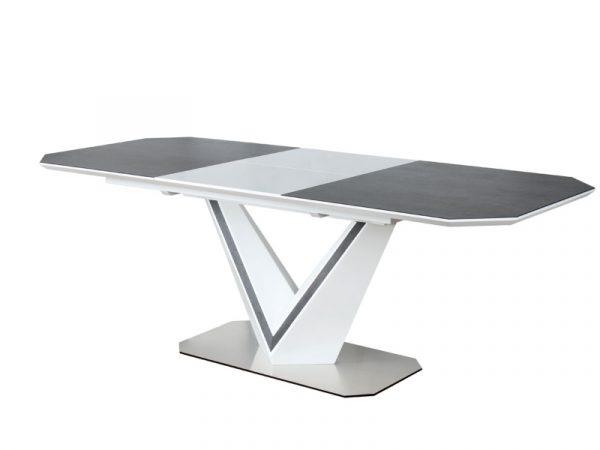 Стол обеденный SIGNAL VALERIO CERAMIC 160 раскладной, серый/белый матовый 160-220/90/76 NEW