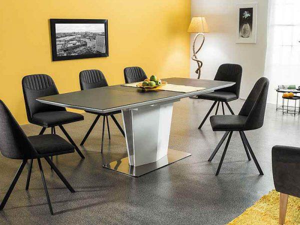Столы - Стол обеденный SIGNAL LAZZIO серый\белый, 160-210/95/76