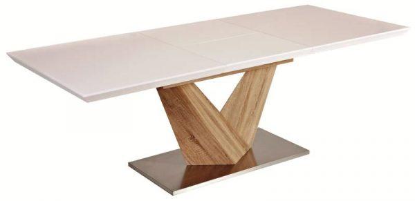 Столы - Стол обеденный Signal ALARAS 140 раскладной, (белый лак/дуб сонома)