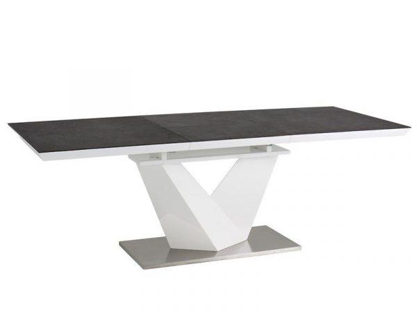 Столы - Стол обеденный Signal ALARAS II раскладной, (серый/белый лак)