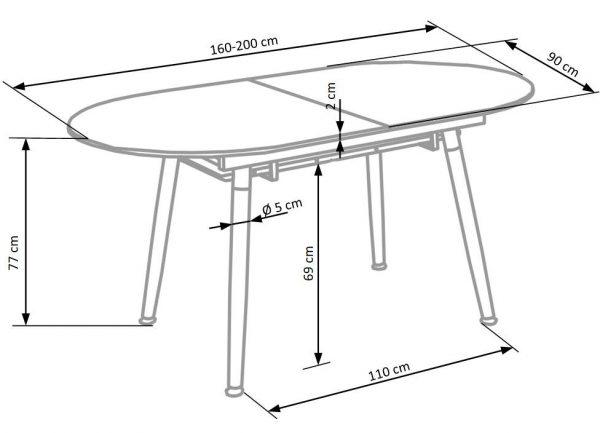 Стол обеденный Halmar CALIBER раскладной (белый матовый/дуб сан ремо)